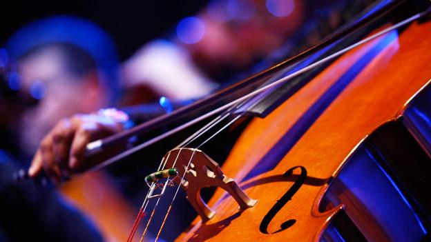 Man sieht den Teil eines Cellos.