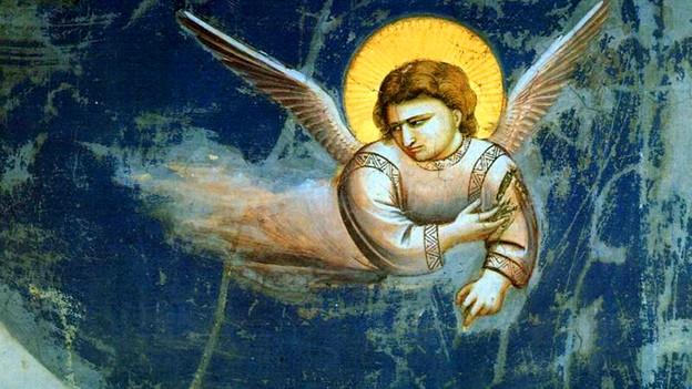 Fresco eines fliegenden Engels.