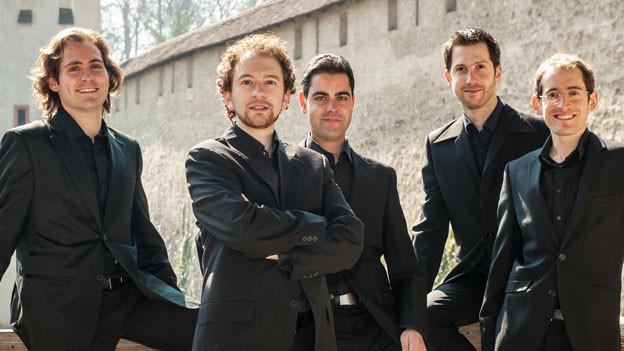 Das Ensemble «Profeti della Quinta» steht vor einer Burg.