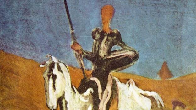 Don Quixote auf einem Werk von Honoré Daumier (1868).