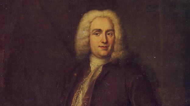 Barockes Gemälde eines Herrn in dunkler Kleidung mit Perrücke.