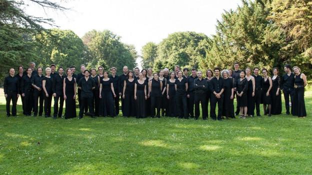 Das Ensemble Musica Fiorita auf einer Wiese.