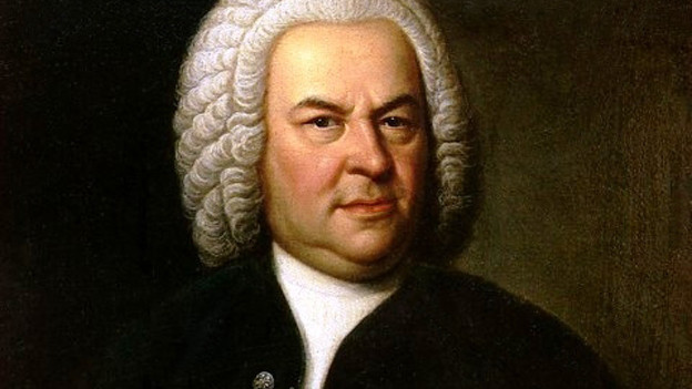 Johann Sebastian Bach mit einer Perücke.