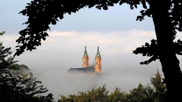 Blick durch Bäume auf Kirchtürme, die aus dem Nebel ragen.