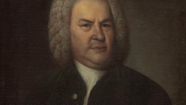 Dunkles Gemälde: ein stattlicher Herr mit grauer Perücke.