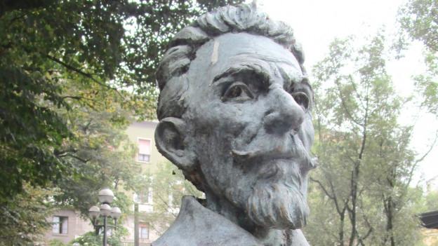 Büste von Claudio Monteverdi in Cremona, Italien.