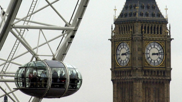 Ein Bild des Big Ben in London und des London Eye.