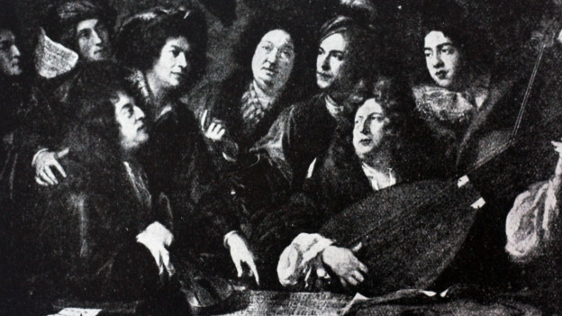 Musiker am Hof von Louis XIV, gemalt vom Barockkünstler Francois Puget.