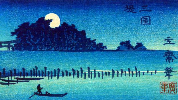 Farbholzschnitt: Mann auf einem Boot im Mondschein