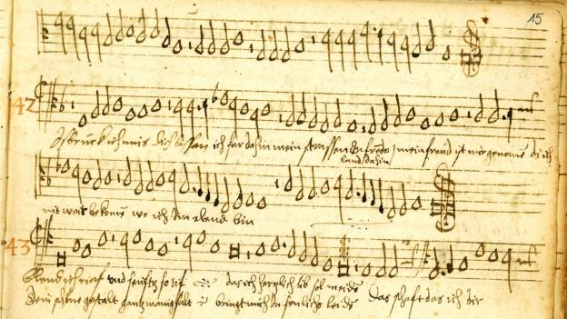 Altes handgeschriebenes Notenblatt.