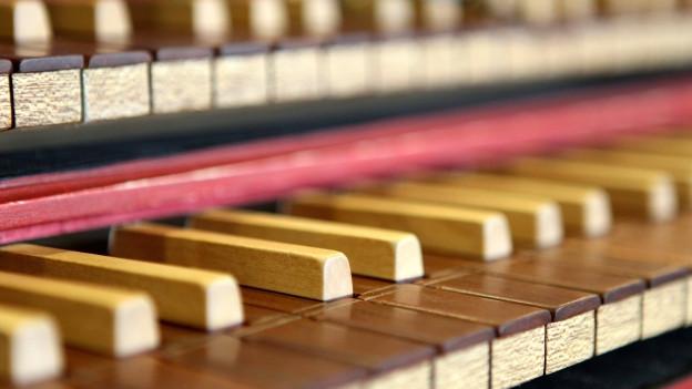 Tastatur eines Cembalos.