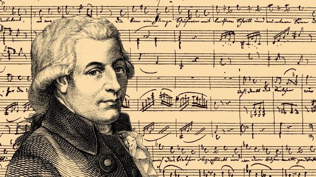 Zeichnung von Mozart vor einem Notenblatt.