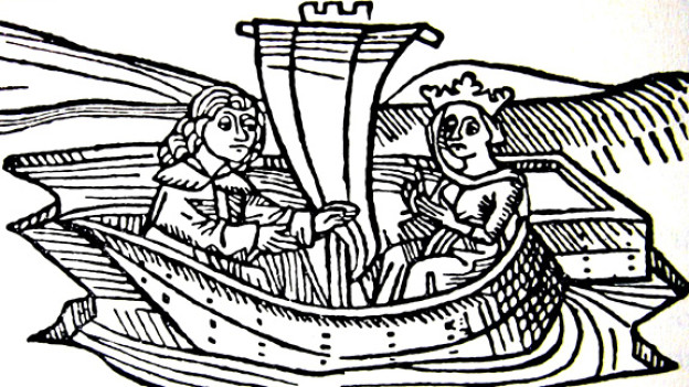 Tristan und Isolde in einem Holzschnitt.
