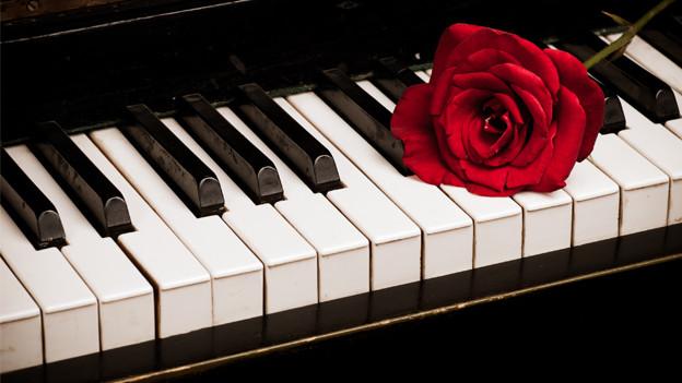 Rose auf Klavier-Partitur.