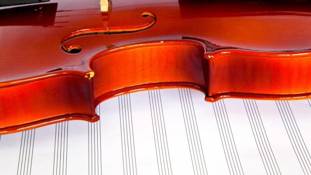 Bild einer Geige auf Notenblättern.