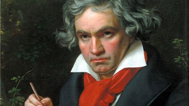 Beethoven mit einem Heft.