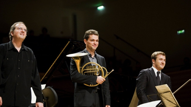 Nicholas Angelich mit drei Musikerkollegen auf der Bühne.