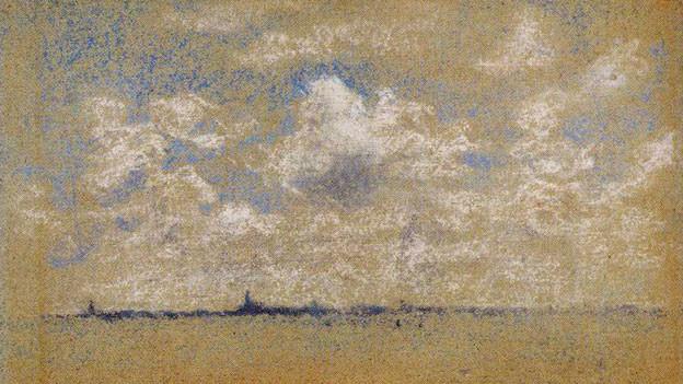 Ein impressionistisches Bild, das vor einer feinen Horizontlinie einen Himmel darstellt.
