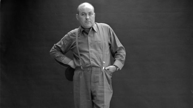 Schwarz-weiss Portrait von Dieter Roth.