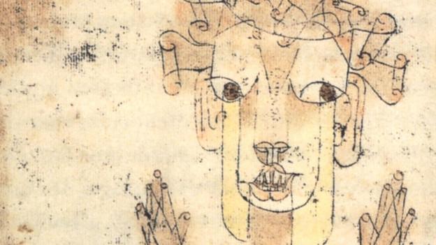 Bild mit einer Zeichnung: Wesen mit erhobenen Händen.