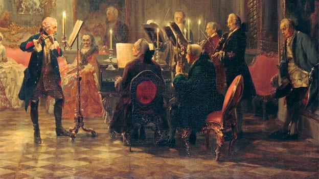 Bild, Flötist und Pianist, Publikum.