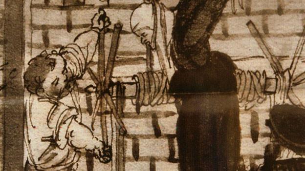 Eine alte Tuschezeichnung, die die Folterung einer Hexe darstellt.