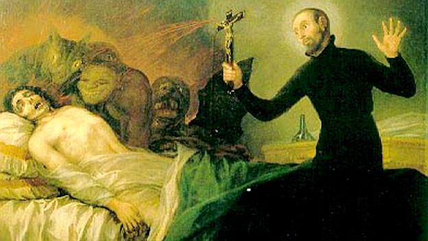Foto eines Bildes, mann wird von Dämonen belagert, Prister mit Kreuz davor.