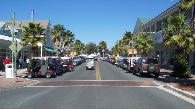 Auf dem Bild ist eine breite Strasse, von Palmen umgeben, in der Alterssiedlung «The Villages» in Florida zu sehen.