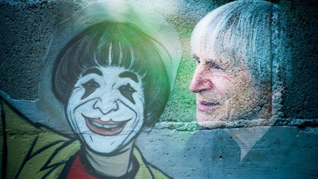 Gemalter Clown auf einer Mauer, daneben ein Foto vom Profil eines grauhaarigen, älteren Mannes..