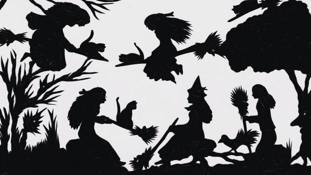 Hexen auf dem Boden und in der Luft.