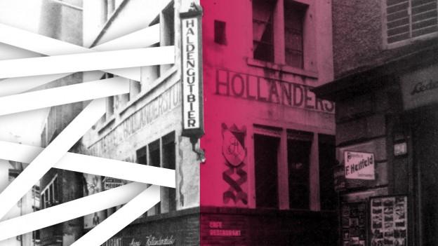 Kollage: Weisse Bänder kommen aus den Fenstern des Cabaret Voltaire.