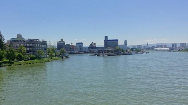 Der Rhein mit seinen beiden Ufern und dem Basler Rheinhafen als Landzunge