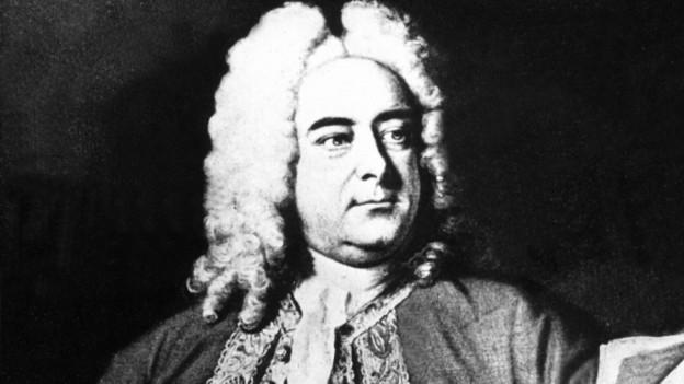 Schwarz-Weiss Zeichnung von Georg-Friedrich Händel aus dem 17 Jahrhundert