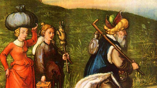 Lot und seine Töchter auf der Flucht, in einem Gemälde von Albrecht Dürer.