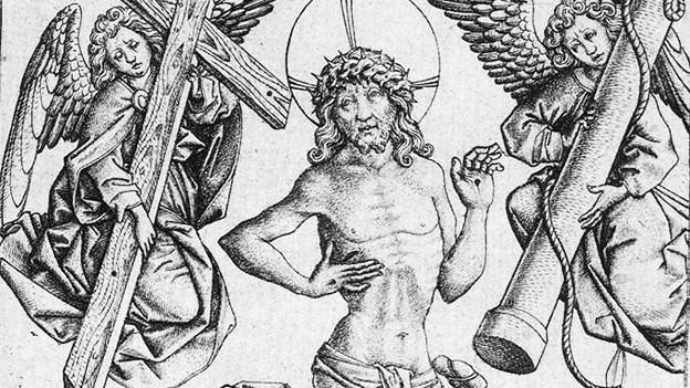 Kupferstich: Jesus mit Stigmata, Dornenkranz und Heiligenschwein zwischen zwei Engeln mit Holzkreuzen