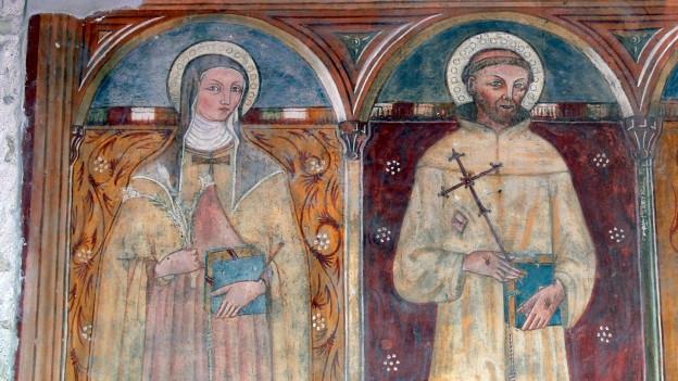 Fresko von Klara von Assisi und Franz von Assisi.