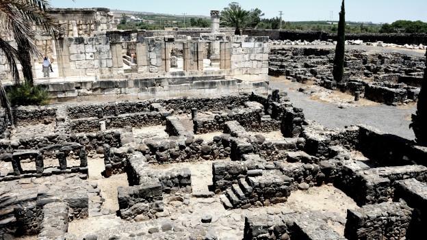 Ausgrabungen der antiken Stadt Kapernaum am Ufer des See Genezareth