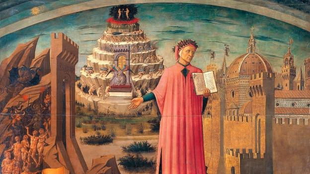 Darstellung von Dante mit links unten das Inferno, hinter ihm der Schicksalsberg.