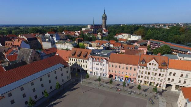 Luftaufnahme von der Lutherstadt Wittenberg mit Blick auf den Arsenalplatz