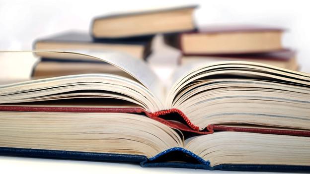 Mehrere offene Bücher liegen da.