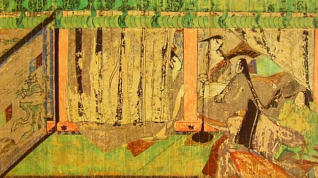 Eine Papierrolle zeigt eine Szene aus der Geschichte vom Prinzen Genji.
