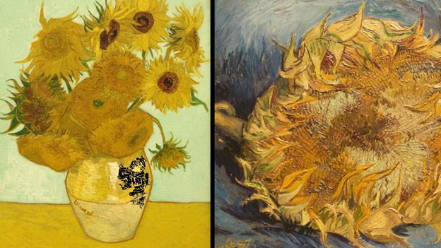 Zwei Abbildungen der Sonnenblumen von van Gogh.