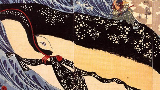 Ein Mann sitzt auf einer japanischen Zeichnung auf einem Wal.