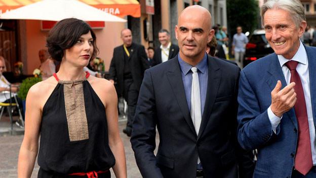 Muriel Zeender, Alain Berset, Marco Solari.