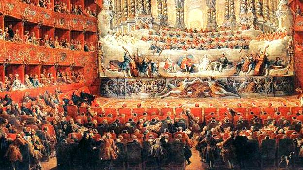 In einem barocken Saal spielt eine Gruppe.