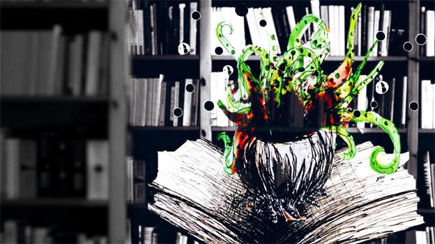 Buchcover mit Buch, aus dem Zauberhut mit Pflanze wächst.