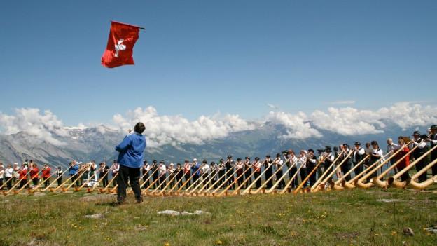Alphornspieler auf einer Weide mit Fahnenschwinger im Bildvordergrund.