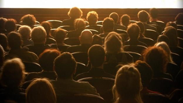 Theaterpublikum von hinten aufgenommen, sitzt im abgedunkelten Zuschauerraum vor einer hell erleuchteten Bühne.