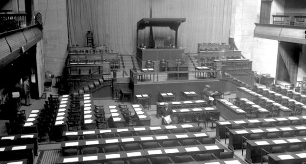Der leere Sitzungssaal in Genf