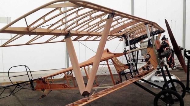 Das Gerippe des Nachbaus der Nieuport 23.